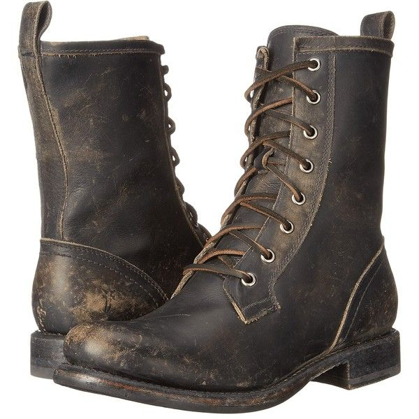 Frye Jenna Combat (Black Stone Wash) Women's Boots ($160) ❤ liked on Polyvore featuring shoes, boots, black, combat booties, black army boots, frye boots, leather boots and platform combat boots