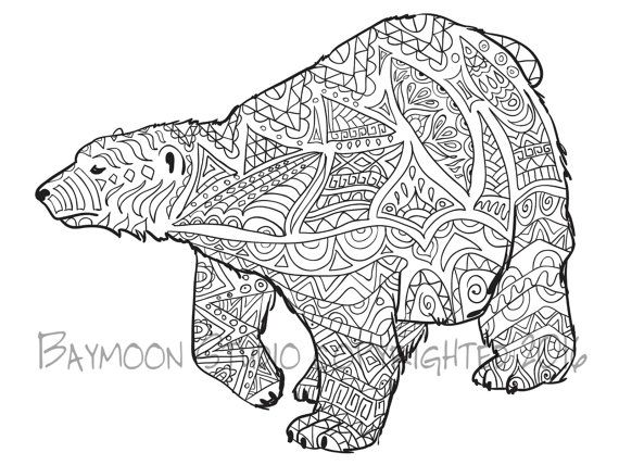 Polar Bear Coloring Page Printable Pages Wall Art Adult Digital Illustration INSTANT DOWNLOAD PRINT