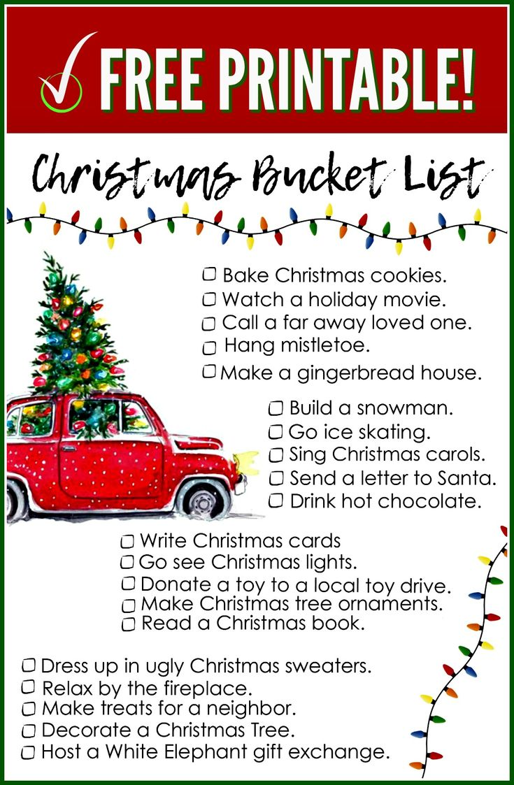 Here's a FREE Printable Christmas Bucket List that I've created to keep track of all the holiday fun you'll want to experience with your loved ones!