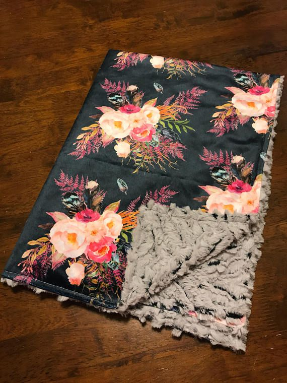 Boho baby blanket / feather baby blanket / Watercolor floral