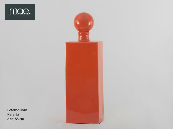 Botellón India, con tapa esfera, color naranja.