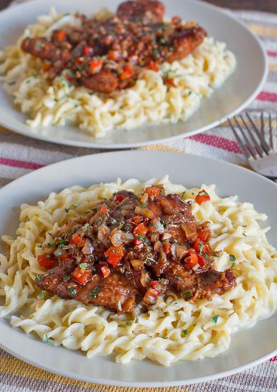 Balsamic Pork Scallopini Over Creamy Noodles