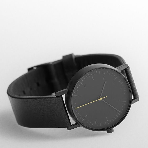 The S001K watch by Stockwatch in black features a stainless steel case just 7.5 millimetres thick and 36 millimetres in diameter, the watch houses a Swiss Quartz movement. #design #watches