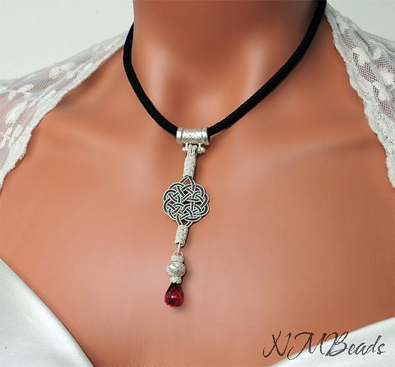Pure Silver Love Knot Pendant  With Red Garnet by NMBeadsJewelry