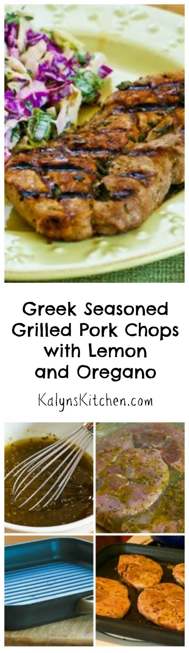 Greek Seasoned Grilled Pork Chops with Lemon and Oregano have all the flavors that make Greek Souvlaki so popular.  You can cook this on an outdoor grill, or use a grill pan on top of the stove for this recipe that's Low-Carb, Gluten-Free, and Paleo. [from KalynsKitchen.com]