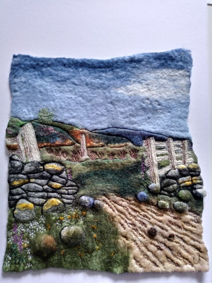 Breathing Space felt with machine embroidery by cathie palmer Felt Isle