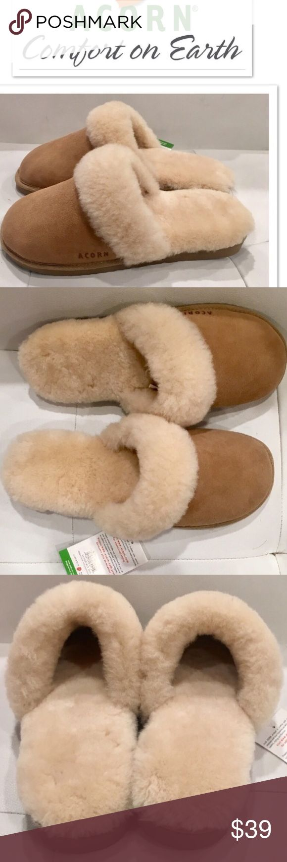 Acorn Sheepskin Slippers! NEW! Jen you wine suede and sheepskin slippers. Absolutely heavenly to wear. Brand-new with tags attached. Snap these up because they are a rare find on Poshmark! No trades or lowball offers please. Acorn Shoes Slippers
