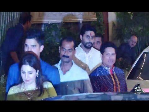 Sachin Tendulkar with family at Amitabh Bachchan house for Diwali party 2016.