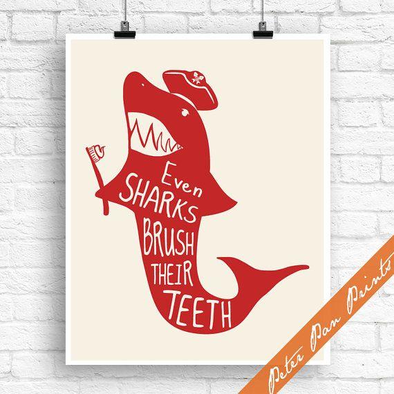 Even Sharks Brush their Teeth  Nautical Kids Bath Inspired
