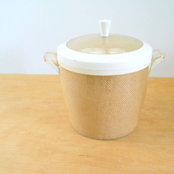 Vintage Raffia Ice Bucket  Brown Burlap 1960's Ice Bucket
