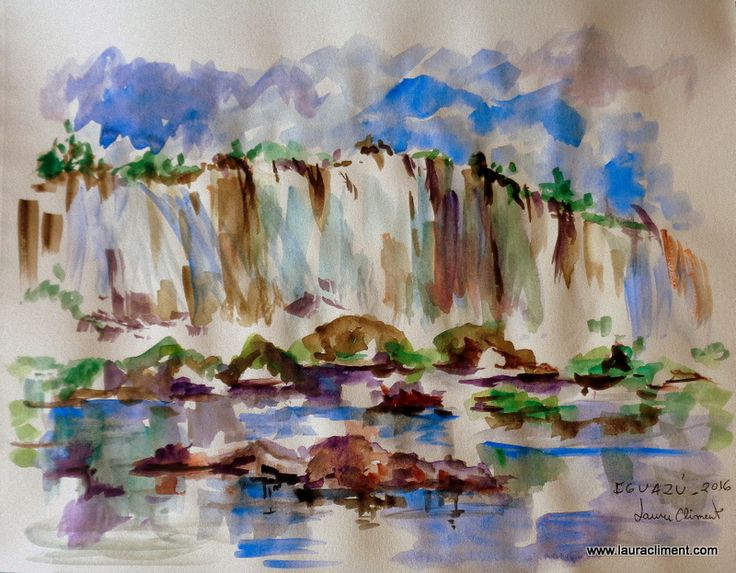 Brasil. Iguazu waterfalls (Watercolor)