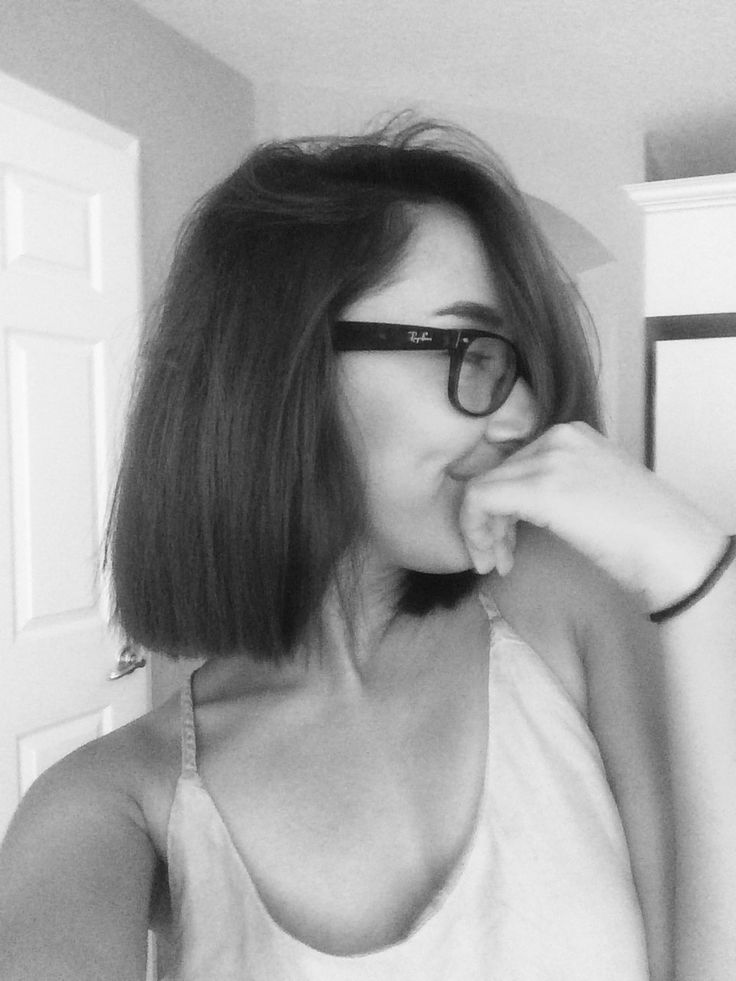 Short Blunt Hair Cut Neck length Girls with Glasses