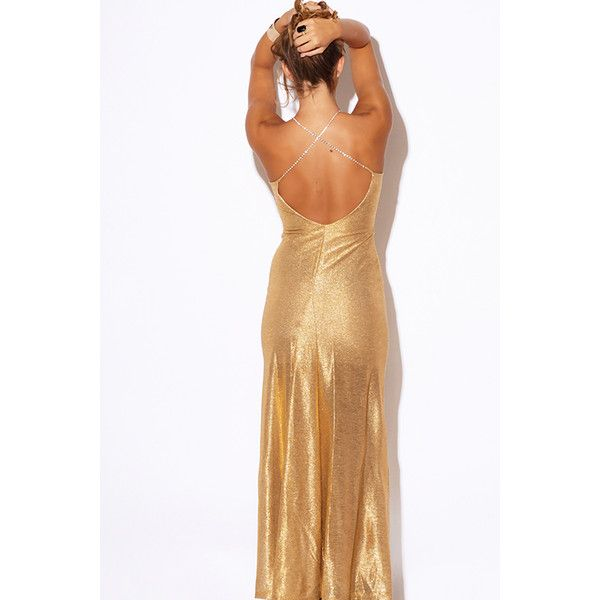 Gold metallic bejeweled backless formal evening cocktail party maxi... ($45) ❤ liked on Polyvore featuring dresses, frames & background, glitter, gold, formal cocktail dresses, backless maxi dress, formal evening dresses, open back maxi dress and party dresses