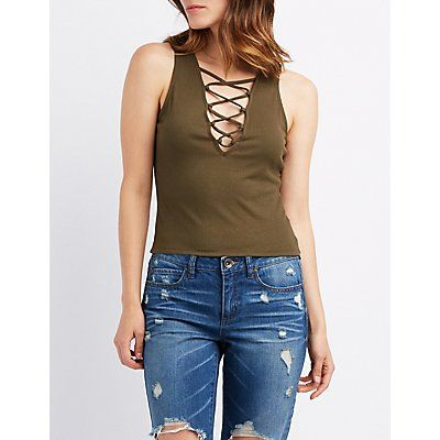 Green Ribbed Lace-Up Tank Top - Size XS