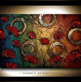Abstract Flower Paintings - Poppies - Original Modern Art by Susanna Buy Now #buyart #cuadrosmodernos