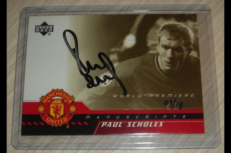 2001 UPPER DECK MANCHESTER UNITED WORLD PREMIERE Phil SCHOLES GOLD AUTOGRAPH CARD 1/18 SELLS AT AUCTION FOR $650.00