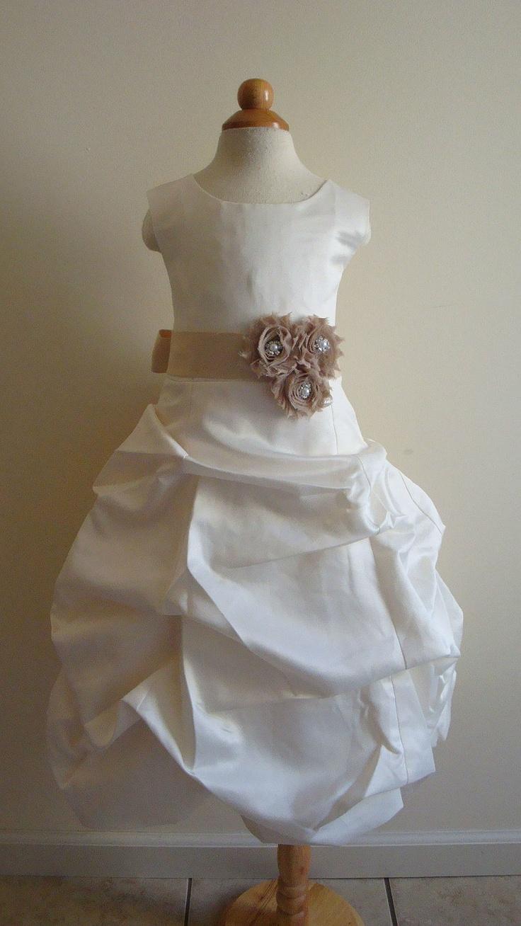 Flower girl dress, ivory, champagne, satin, pick up dress, 2 years - size 5, wedding. $99.00, via Etsy.
