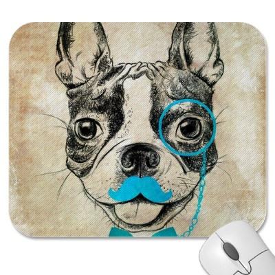 De vintage Tekening van de Hond met Blauwe Grappig Muismat