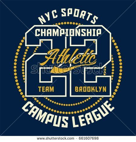 Design alphabet and numbers SPORTS CHAMPIONSHIP ATHLETIC for t-shirts