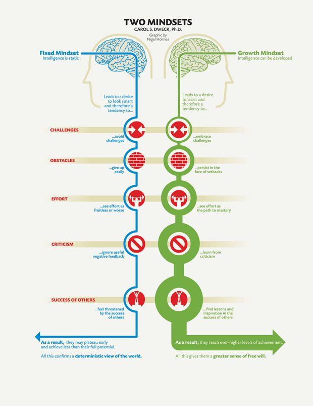 'Two Mindsets,' Stanford, magazine article, 2007     Data Source: Carol Dweck: 'Mindset: The New Psychology of Success', 2006. Design: Nigel Holmes