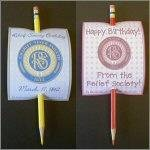 LDS Relief Society Birthday Pencil Cards