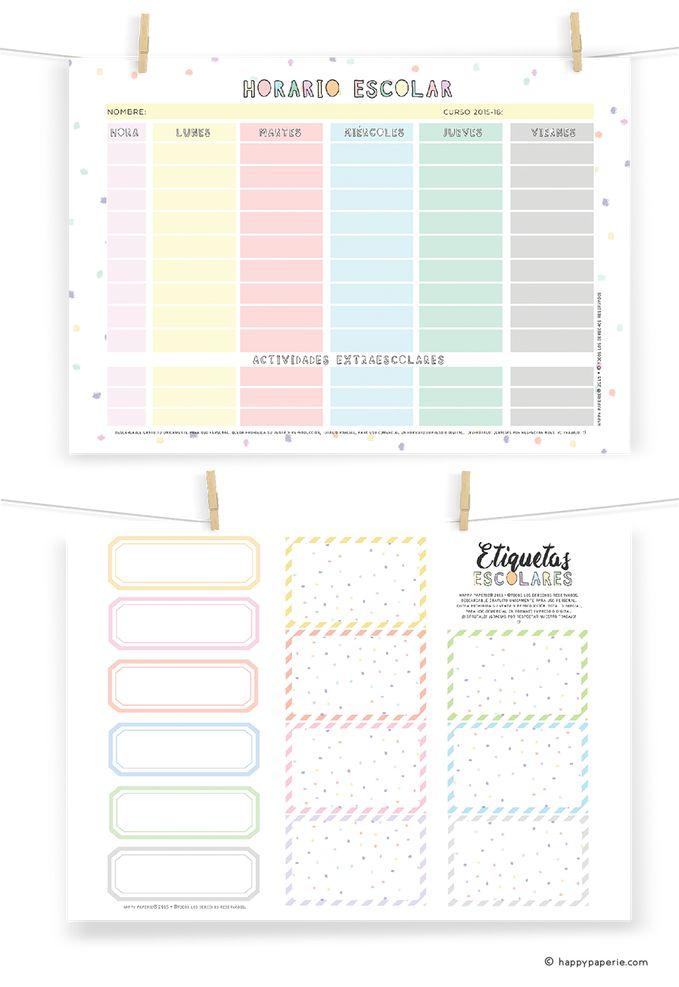 Happy Paperie® FREEBIES: Horario Escolar + Etiquetas imprimibles gratis