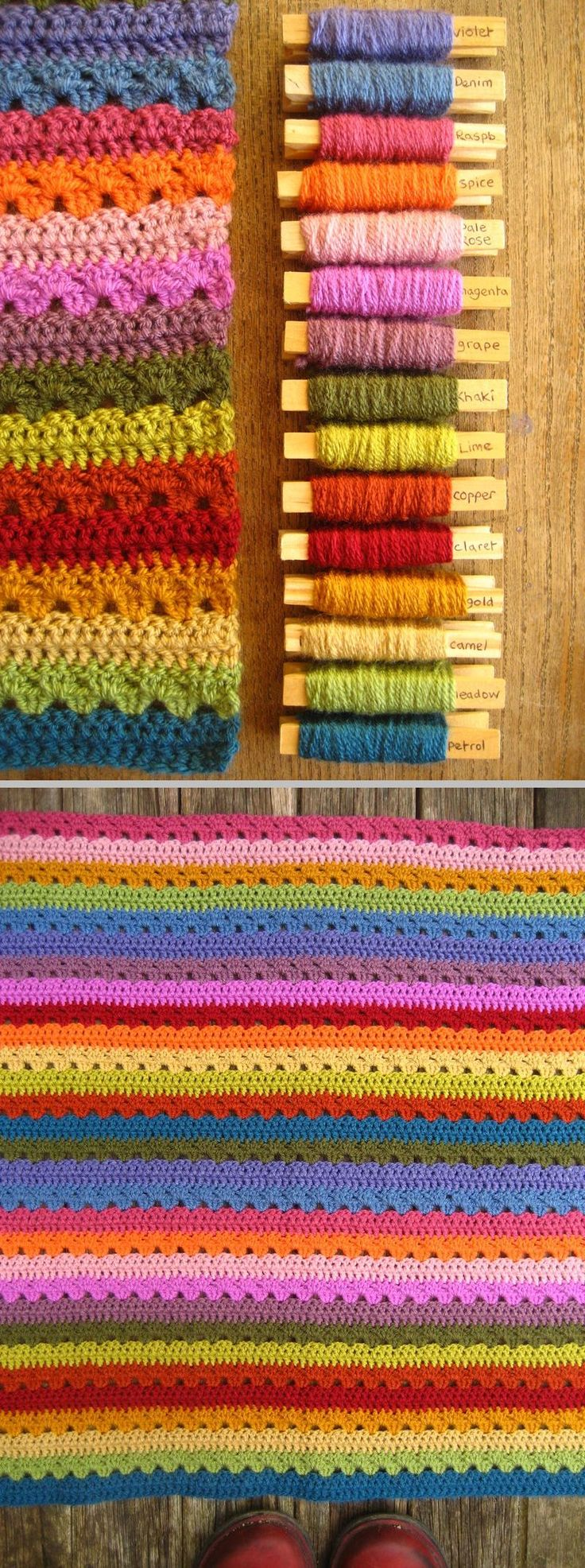 Cosy Stripe Blanket, free pattern by Lucy of Attic24. Very simple, great step-by-step photo tutorial: 2 rows DC alternated with 2 rows granny clusters. 15 colors of Stylecraft Special DK, hook size 'G'. Random order of colors, specified each Sunday on her blog. Lucy is also having a CAL for this blanket from Nov. '14 thru Jan. '15 on Ravelry: http://www.ravelry.com/discuss/we-love-lucy/3052380/51-75 ✿⊱╮Teresa Restegui http://www.pinterest.com/teretegui/✿⊱╮
