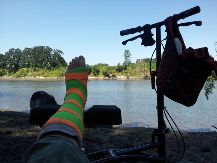 Hiked To Sandy River At The Sandy River Delta Park With Broken Ankle Amp Knee Scooter Assist My