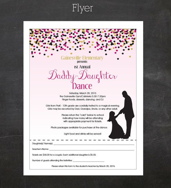 Daddy-Daughter Dance (Father and Daughter Dancing) - Event Custom Printable Package - flyer, tickets and poster, PTA, PTO or Church  If you are planning a Daddy-Daughter dance for your school, church or another organization we can make it super easy for you.  ------------------------------------------------------------ Included in this package ------------------------------------------------------------ :: FLYER - 8.5 x 11 - comes color and black and white :: TICKETS - 3 x 2 - 12 up on a…