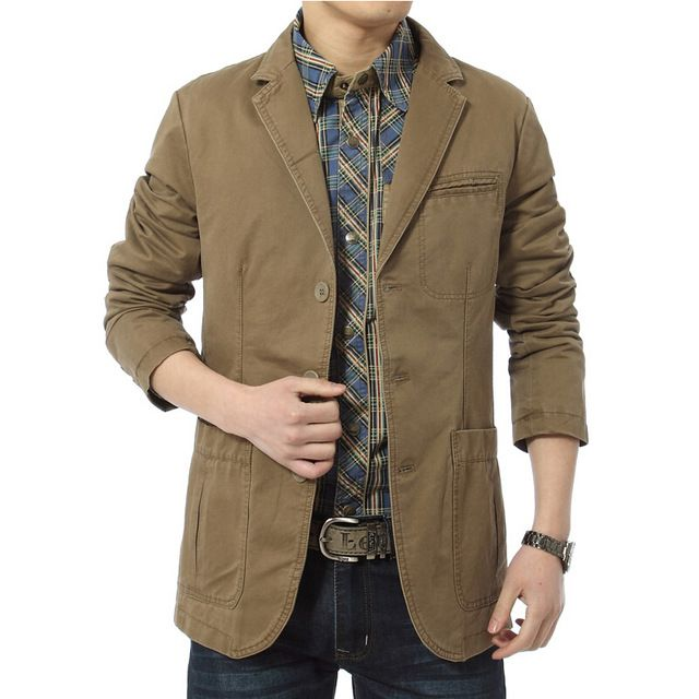 Check it on our site Blazer Men Casual Suit Cotton Denim Parka Men's Slim Fit Jackets Army Green Khaki Large Size  XXXL XXXXL Coat just only $29.69 with free shipping worldwide  #jacketscoatsformen Plese click on picture to see our special price for you