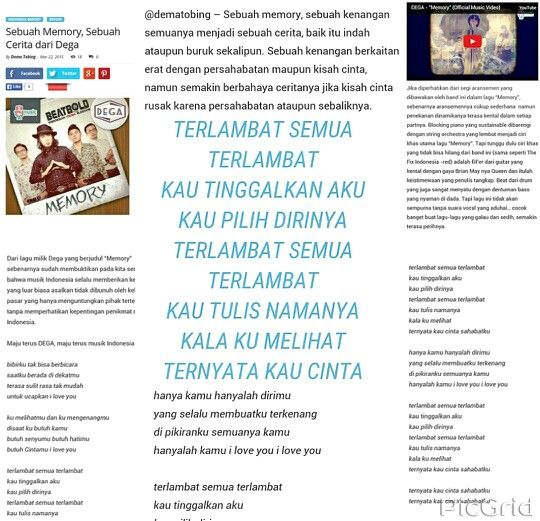 """A review or a long story about the song """" Memory """" which was written by Beatbold .  And previously beatbold also once wrote a story about the song by The Fix Indonesia such as """" Semua Telah Berakhir and USUL """"  More details can be read here : http://t.co/q1Ev6WAXoO  Thanks dema , although the lyrics there is little hehe But every article I really like it ;)"""