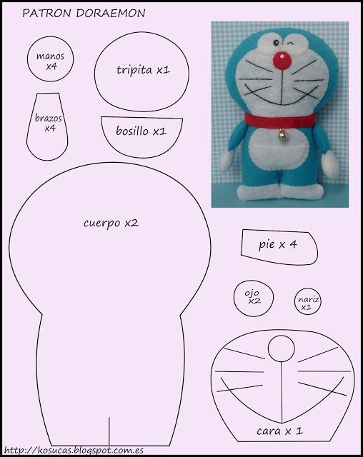 Doraemon, este simpático y singular gato que tantos ratos divertidos nos ha hecho pasar. Esta vez patrón para que puedes confeccionarlo en fieltro, si lo lo desean puedes utilizar también tela. Si …