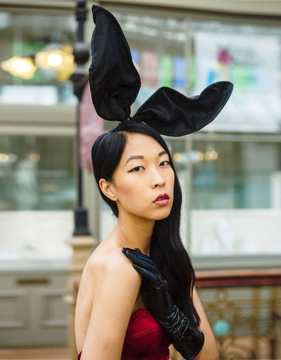 Bunny ears headband - Black bunny ears.  Tall bunny ears headband, made from crisp shiny taffeta fabric. Great for photo-shoots. Made to order, allow