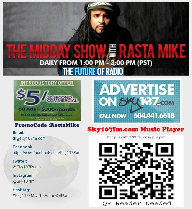 Stooomp Dooown !! Join Me ..Rasta Mike 1 to 3pm daily on the Midday Show Blending mixes of Contempary Urban Dance Dancehall, Soca,Reggae, Afrobeat and Reggae Dubstep The show also focuses on anti-bullying and anti-drugs. — with Rasta Mike.  Sky107fm Music Player Stooomp Dooown !! Join Me ..Rasta Mike 1 to 3pm daily on the Midday Show Bl...