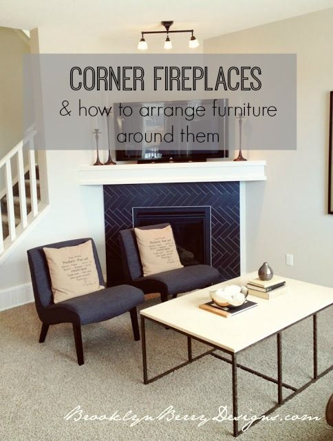 Corner fireplaces are so hard to arrange furniture around.  Here is the ultimate collection of rooms that manage to make them work. Furniture layout with a corner fireplace.
