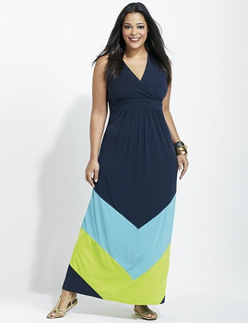 Colorblock maxi dress to look thinner