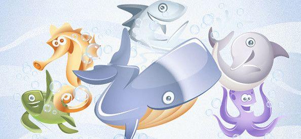 6 Vector animali acquatici
