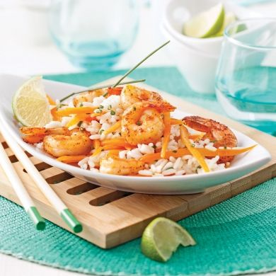 Salade-repas aux crevettes, riz et lait de coco - Recettes - Cuisine et nutrition - Pratico Pratique