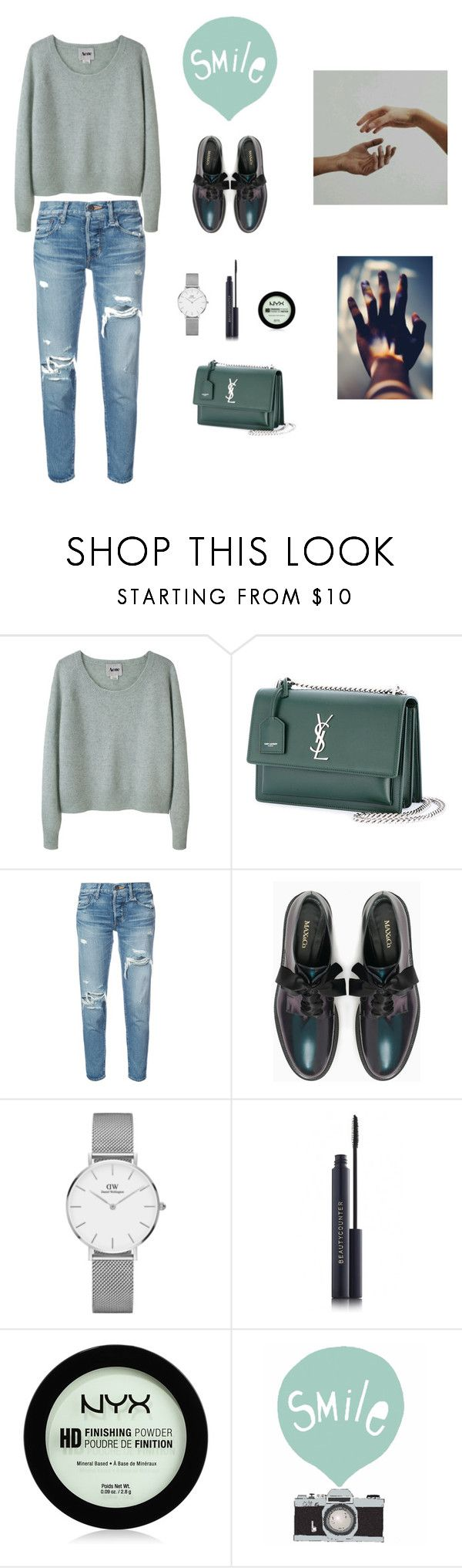 """""""Smile"""" by fairysworld ❤ liked on Polyvore featuring Acne Studios, Yves Saint Laurent, moussy, Max&Co., Daniel Wellington, NYX and Seventy Tree"""