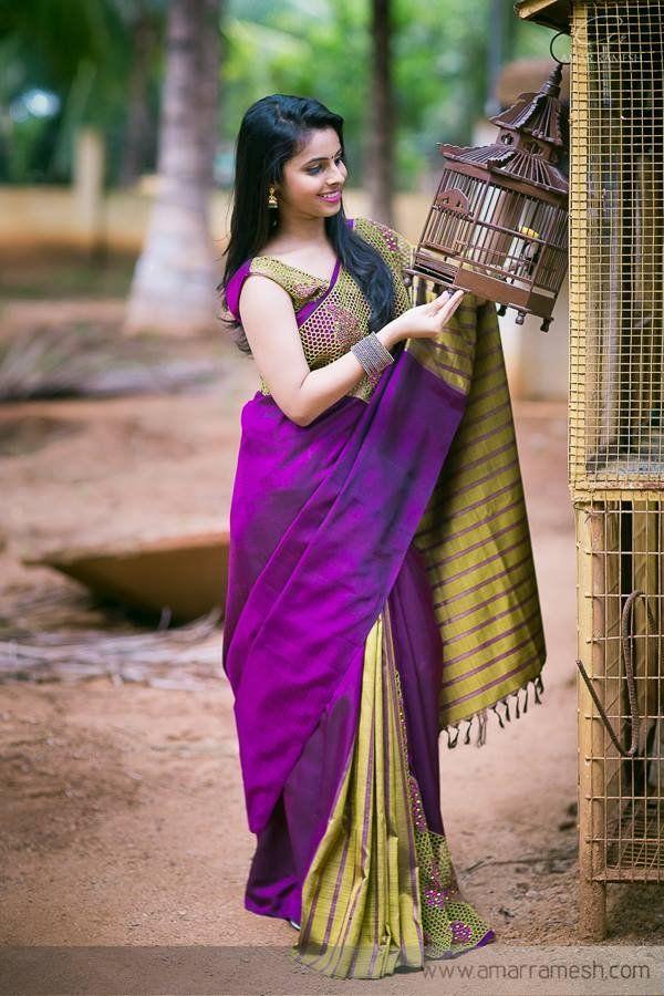 Dual coloured silk saree. Indian fashion.