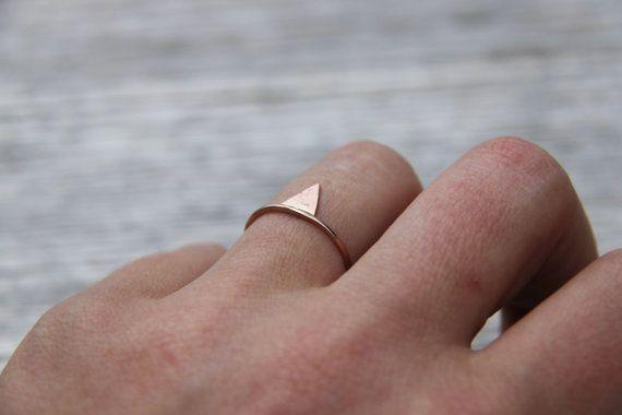 thin rose gold ring Mixed metal ring stacking ring set by nikasart