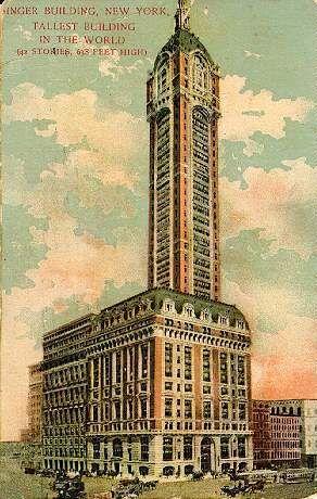 Vintage 1908, Singer Building, World's Tallest, NYC, www.RevWill.com
