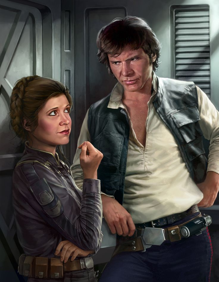 Illustration by Chris Trevas of Leia and Han in Star Wars: Razor's Edge