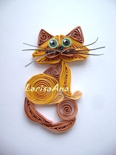 *QUILLING cat on card