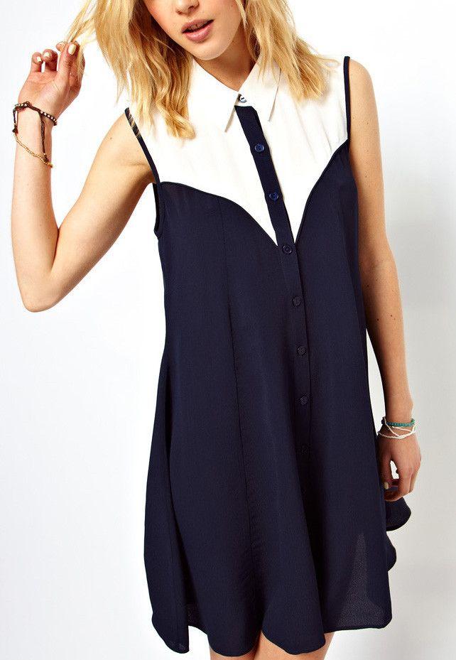 Navt & White Contrast Panel Sleeveless Shirt Dress #MYTRENDTWOWARDROBE