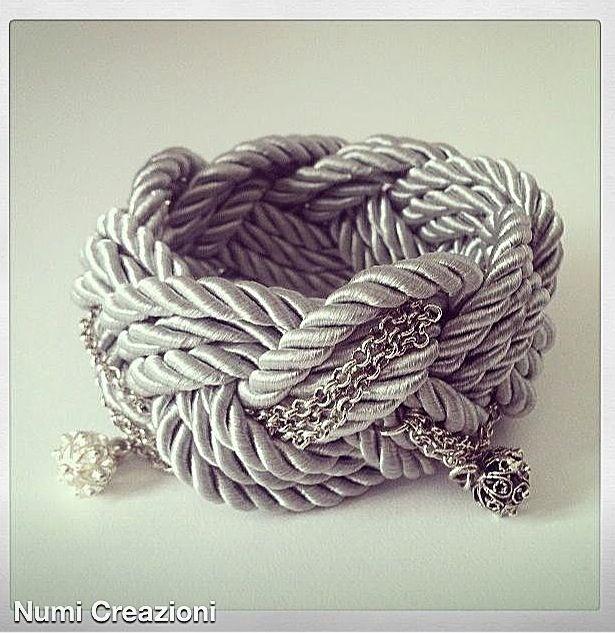 Numi bracciale intreccio raso con bottone filigrana sarda /  Bracelet  diy knot