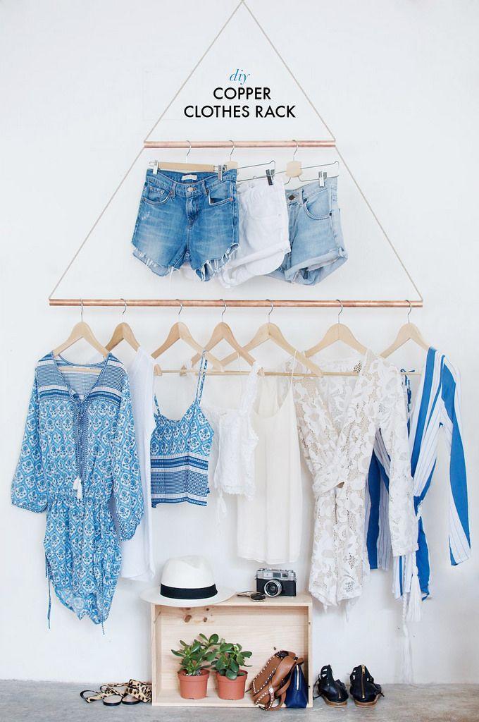 DIY Copper Hanging Clothes Rack