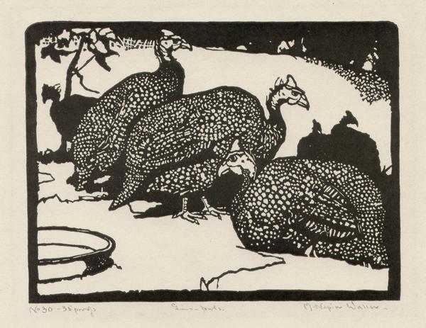 Linocut titled 'Guinea fowls' by Napier Waller