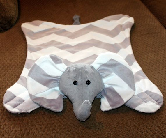 Chevron Grey & White Minky Elephant Snuggle Blanket / Soft