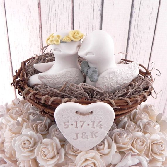 Rustic Wedding Cake Topper - Ivory, Canary Yellow and Grey, Love Birds in Nest - Personalized Heart, Keepsake